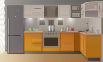 Interior de cozinha moderna laranja vetor