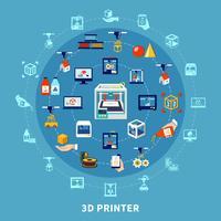 Composição do projeto da impressão 3d vetor