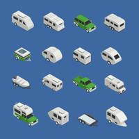 Conjunto de ícones isométrica de veículos recreativos vetor
