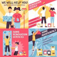 Conjunto de composições de publicidade de renovação vetor