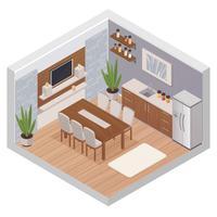 Interior isométrica da cozinha com TV