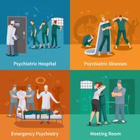 Conjunto de ícones do conceito de doenças psiquiátricas vetor