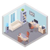 Interior do escritório isométrica com dois locais de trabalho vetor