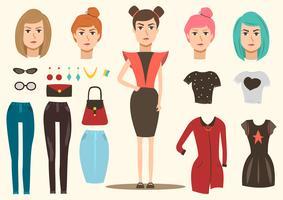 Conjunto de elementos de modelo de moda