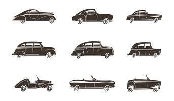 Coleção de ícones pretos de carro retrô