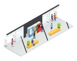 Conceito isométrico de máquinas de venda automática vetor