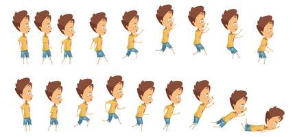 Animação de menino pulando e caindo vetor