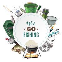 Pesca de água doce Sport Round Frame Composition vetor