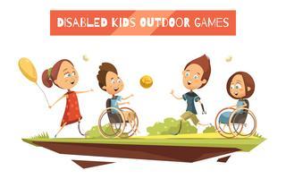 Jogos ao ar livre de crianças com deficiência ilustração vetor
