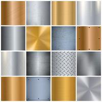 Conjunto de ícones grandes realista de textura de metal vetor