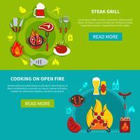 Churrasqueira e cozinhar no fogo aberto plano vetor