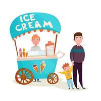 Garoto perto de desenhos animados de vendedor de sorvete