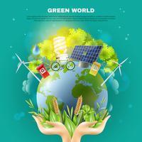 Poster verde da composição do conceito da ecologia do mundo