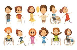 Conjunto de crianças com deficiência vetor