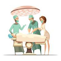 Ilustração de cirurgia no estilo retrô dos desenhos animados