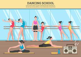 Ilustração plana de escola de dança