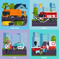 Conjunto de ícones de serviços de emergência vetor