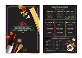 Menu italiano do restaurante com oferta especial