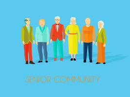 Grupo de pessoas da comunidade sênior cartaz plana