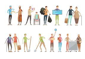 Conjunto de caracteres de voluntário plana