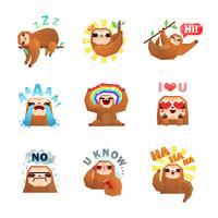 Conjunto de adesivos de emoticon de preguiça vetor
