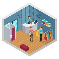Interior isométrico colorido de loja tentando