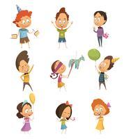 Conjunto de ícones retrô de festa de crianças