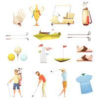 Conjunto de ícones de desenhos animados retrô de atributos de golfe vetor