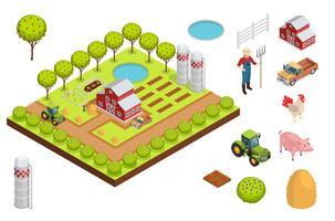 Composição isométrica de fazenda