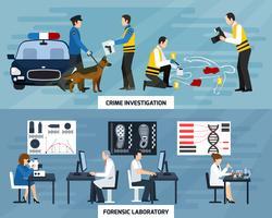 Bandeiras planas de investigação de crime vetor