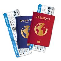 Bilhetes de Passageiros Air Travel Realistic Composition vetor