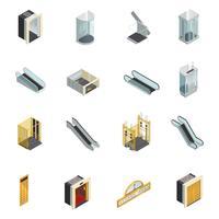 Conjunto de elementos isométricos de elevador vetor