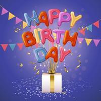 Feliz aniversário balão letras fundo vetor