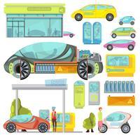 conjunto de carro eletro plana
