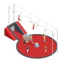 Composição isométrica de circo manege vetor