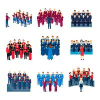 Coleção de ícones plana do conjunto de canto de coro vetor