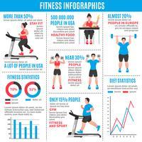 Infográficos coloridos de fitness vetor