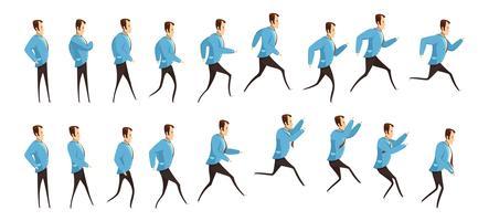 Animação de homem correndo e pulando vetor