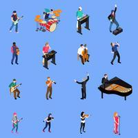 Conjunto de ícones isométrica de pessoas de músicos vetor