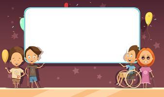 Crianças com deficiência com design de Banner dos desenhos animados vetor