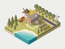 Ilustração isométrica de fazenda vetor