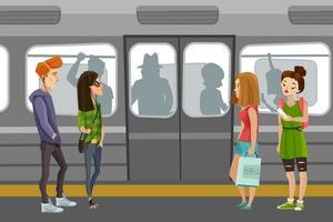 Fundo de pessoas do metrô vetor