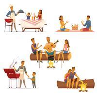 Conjunto de ícones de desenhos animados retrô de piquenique de churrasco
