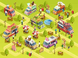 Cartaz de composição isométrica de caminhões de comida ao ar livre vetor
