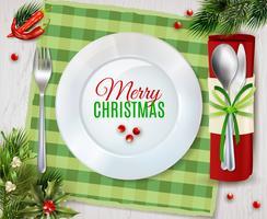Cristmas Dinner Cutlery Realistic Composição Poster vetor