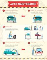 Car Centers Service Retro Infográficos dos desenhos animados vetor