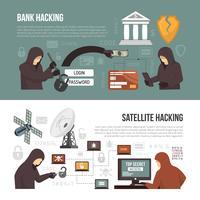 Métodos de atividade de hackers 2 banners planas vetor