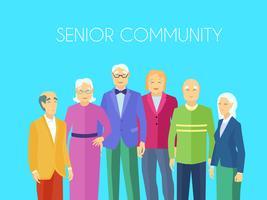 Grupo de pessoas da comunidade sênior cartaz plana vetor