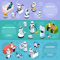 Banners isométricos de robôs em casa