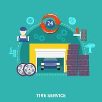 Conceito de Design plano de serviço de pneu vetor